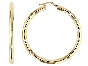 14K Yellow Gold 4MM Polished Circle Tube Hoop Earrings