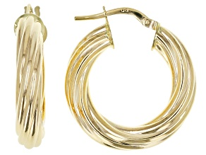 14K Yellow Gold 4MM Twisted Hoop Earrings