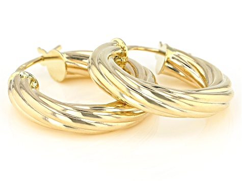 14K Yellow Gold 4MM Twisted Hoop Earrings