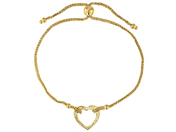Picture of 14K Yellow Gold Polished and Textured Heart Wheat Link 9.25 Inch Bolo Bracelet