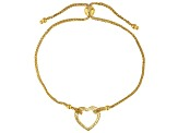 14K Yellow Gold Polished and Textured Heart Wheat Link 9.25 Inch Bolo Bracelet