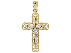 10K Two-Tone Polished Diamond-Cut Crucifix Cross Pendant