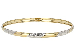 10K Yellow Gold With Rhodium Accent 4MM Polished Diamond-Cut 7.5 Inch Oval Bangle Bracelet
