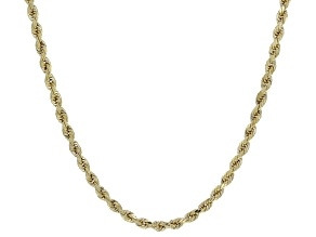 10K Yellow Gold Polished 3MM Rope chain 24 Inch Necklace