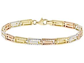 10K Tri-Color Gold Polished Diamond-Cut Reversible Greek Key 7.25 Inch Bracelet