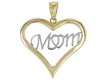 Picture of 10K Two-Tone Gold Polished Heart MOM Charm Pendant