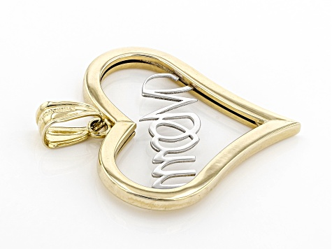 10K Two-Tone Gold Polished Heart MOM Charm Pendant