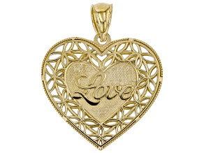 10K Yellow Gold Polished Diamond-Cut Love Script Heart Shadowbox Pendant