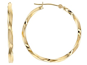 10K Yellow Gold Polished 30MM Twist Tube Hoop Earrings