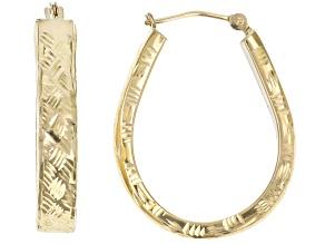 10K Yellow Gold Polished Diamond-Cut Pear Shape Flat Tube Hoop Earrings