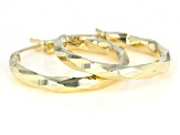 10K Yellow Gold Polished Diamond-Cut 2x18MM Twisted Tube Hoop Earrings