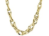 10K Yellow Gold 7.65MM-3.48MM Graduated Interlock Oval Chain 17 Inch Necklace