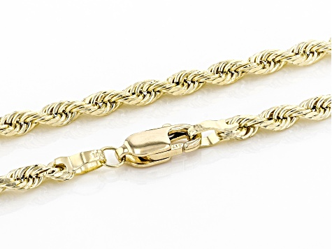10K Yellow Gold 2.5MM Rope Chain 22 Inch Necklace