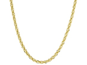 10K Yellow Polished Gold 3MM Rope Chain 18 Inch Necklace