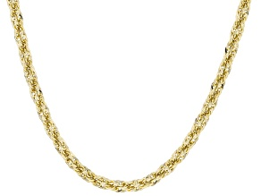 10K Yellow Polished Gold 3MM Rope Chain 24 Inch Necklace