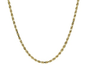 10K Yellow Gold Polished 2.5MM Diamond-Cut Rope Chain 22 Inch Necklace