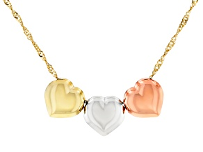 14K Tri-Color Polished Triple Hearts Singapore Chain 18 Inch Necklace