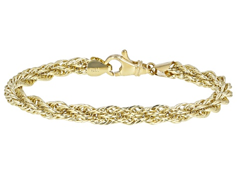 10K Yellow Gold 6MM Polished Rope Link 7.5 Inch Bracelet