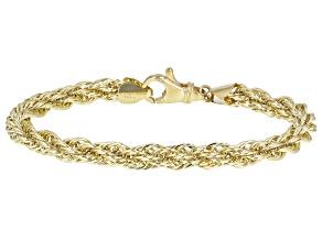 10K Yellow Gold 6MM Polished Rope Link 7.5 Inch Bracelet