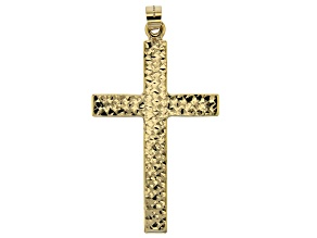 14K Yellow Gold Polished Diamond-Cut Cross Pendant