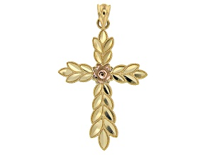 14K Yellow Gold with Rose Gold Accent Polished Diamond-Cut Leaf Design Cross Pendant