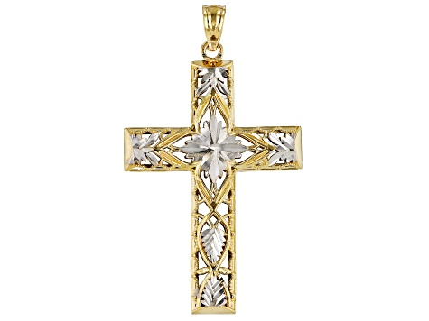 14K Yellow Gold with Rhodium Accent Polished Diamond-Cut Texture Cross Pendant