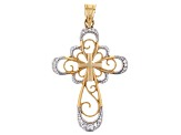 14K Yellow Gold with Rhodium Accent Polished Diamond-Cut Open Design Cross Pendant