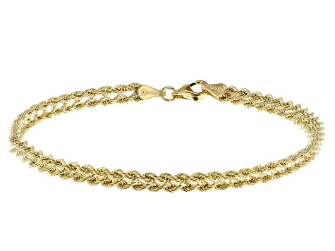 14K Yellow Gold Polished Multi-Strand Rope Link 7.5 Inch Bracelet