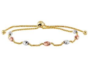 14K Tri-Color Polished Diamond-Cut Bead Spiga Link 8.75 Inch Bolo Bracelet
