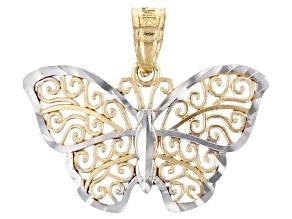 14K Yellow Gold with Rhodium Polished Diamond-Cut Filigree Butterfly Pendant