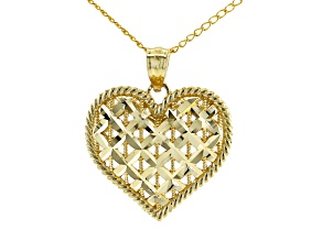 14K Yellow Gold Polished Diamond-Cut X Pattern Heart Pendant with Curb Chain 18 Inch Necklace