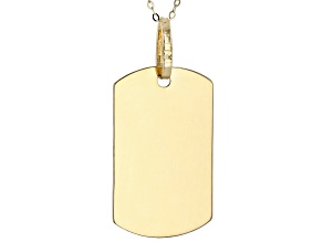 14K Yellow Gold Polished Dog Tag Pendant with Cable Chain