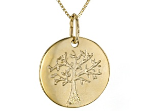 14K Yellow Gold Polished Tree of Life Pendant with 18 Inch Box Chain