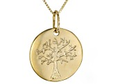 14K Yellow Gold Polished Family Tree Pendant with 18 Inch Box Chain Necklace