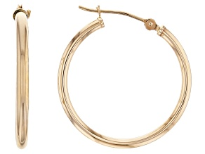 14K Yellow Gold 25MM Polished Tube Hoop Earrings