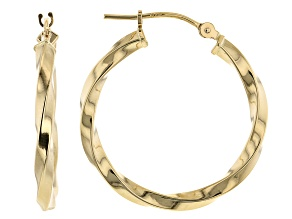 14K Yellow Gold 2x20MM Polished Twisted Tube Hoop Earrings
