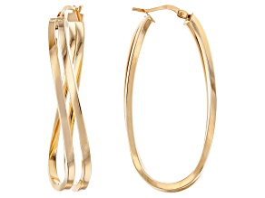 14K Yellow Gold Polished Double Curve Hoop Earrings