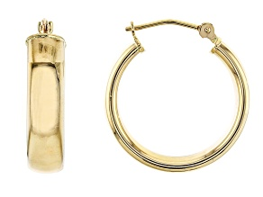 14K Yellow Gold Polished 20MM Round Tube Hoop Earrings