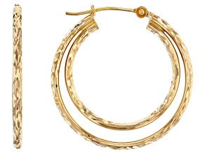14K Yellow Gold 20MM-25MM Polished Diamond-Cut Double Tube Hoop Earrings