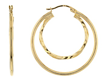 Picture of 14K Yellow Gold Polished 25MM Twisted with 35MM Round Double Tube Hoop Earrings