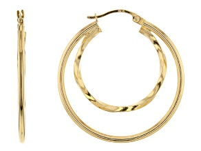 14K Yellow Gold Polished 25MM Twisted with 35MM Round Double Tube Hoop Earrings