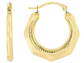 14K Yellow Gold 4.5x21MM Polished Octagonal Hoop Earrings