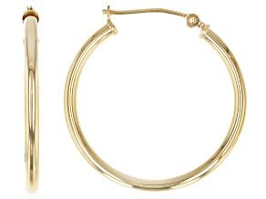 14K Yellow Gold 1x27MM Polished Tube Hoop Earrings