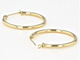 14K Yellow Gold 1x27MM Polished Tube Hoop Earrings