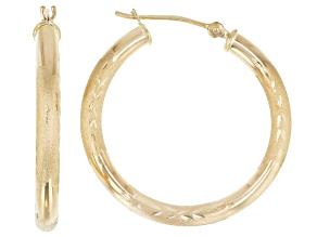 14K Yellow Gold 28MM Polished Diamond-Cut Tube Hoop Earrings