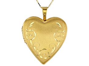 14K Yellow Gold Photo Heart Lock Pendant with Box Chain 18 Inch Necklace