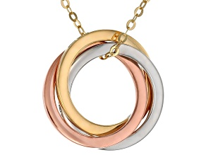 14K Tri-Color Polished Triple Interlocked Circles Rolo Chain 18 Inch Necklace