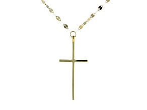 14K Yellow Gold Polished Cross Drop Mirror Chain 18 Inch Necklace