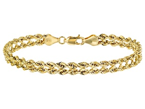 14K Yellow Gold Polished Diamond-Cut Double Rope Link 7.25 Inch Bracelet
