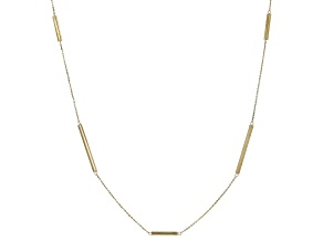 10K Yellow Gold 3MM Station Long Bar Cable Chain 30 Inch Necklace